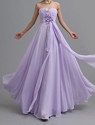 Floor-length Chiffon Elegant Bridesmaid Dress - A-line Sweetheart with Criss Cross