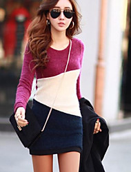 Women's Fashion Long Sleeve Slim Dress