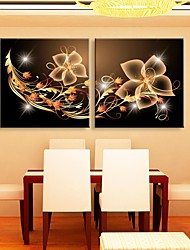 E-HOME® Stretched LED Canvas Print Art Decorative Pattern Flash Effect LED Flashing Optical Fiber Print Set of 2
