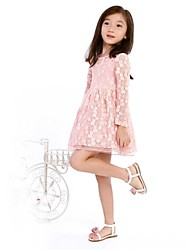The girl's princess dress is pure cotton  sleeve dress
