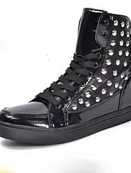 Sapatos Masculinos Botas Preto / Branco Couro Envernizado Casual