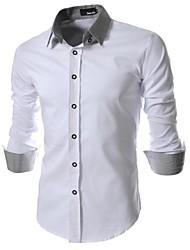 paño de la rejilla fina camisa de manga larga delgada de los hombres
