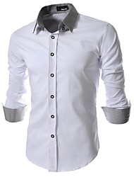 Men's Fine Grid Cloth Slim Long Sleeved Shirt
