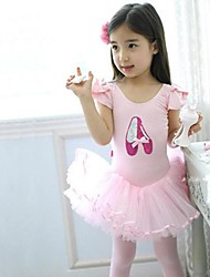 Kids' Dancewear Dresses Children's Training Cotton Short Sleeve Natural Princess 100:49,110:51,120:53,130:55,140:58,150:61