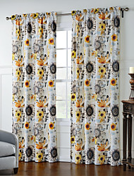 TWOPAGES® Two Panels  Artistic Sunflowers Pattern Curtain