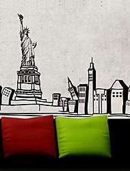stickers muraux stickers muraux, ville moderne de la statue de la liberté pvc stickers muraux