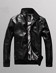 Men's Stand Collar Slim PU Leather Jacket(More Colors)