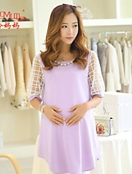 Korean fashion summer coarse linen pregnant summer short sleeved Chiffon Dress Dress pregnant women