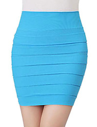 Women's Pleats Pure Color Mini Skirt
