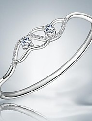 Classic Simple Silver Plated Alloy Bangles(1pc)