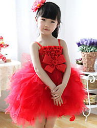 Ball Gown Knee-length Flower Girl Dress - Cotton Straps with Bow(s)