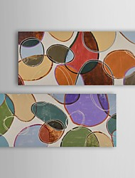 Oil Painting Modern Abstract Colored Cells At Play Set of 2 Hand Painted Canvas with Stretched Frame