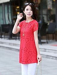 moda rendas vestido de manga curta das mulheres