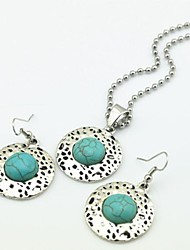 Toonykelly Vintage Antique Silver Multicolor Turquoise(Earring and Necklace) Jewelry Set