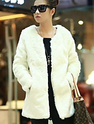Fur Coats Faux Fur Fashion Long-Sleeved Collarless Jacket
