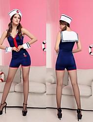 azul de poliéster mulheres uniformes sexy marinheiro trajes de Halloween