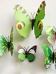 pegatinas de pared Tatuajes de pared, etiqueta engomada de la mariposa magnéticas verdes pegatinas de pared de pvc.