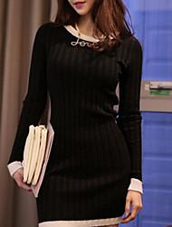 Frauen Han-Ausgabe langärmeligen Kleid Paket Hüfte