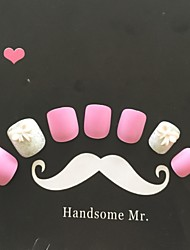 24pcs corlor rosa com arco branco e unhas de glitter
