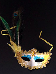 Peacock Feather and Eye Shadow Blue PVC Holiday Half-face Mask