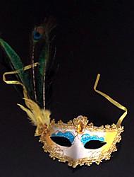 Pfau-Feder und Eye Shadow Yellow PVC Urlaub Halbmaske