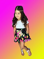 Girl's Short-Sleeved T-Shirt Floral High Waist Flower Skirt Suit Baby Sets
