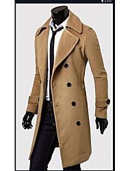 Romeo Men's Solid Color Double Breast Tweed Coat