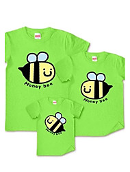Family's Fashion Leisure Cute Little Bee Parent Child Short Sleeve T Shirt