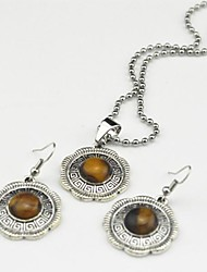 Toonykelly Vintage Antique Silver Tiger Stone(Earring and Necklace) Jewelry Set