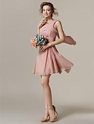 Short/Mini Chiffon Bridesmaid Dress - Pearl Pink A-line One Shoulder