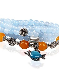 Women's Fashion Fish Blue Jade Multiturn Buddha Beads  Bracelet