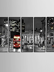 E-HOME® The Night View of The City Clock in Canvas 5pcs