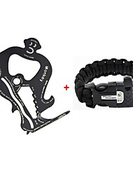 Survival Gear Paracord Brecelet + Magnesium Stone Flint Fire Starter Whistle Buckles with Card Shaped Tool