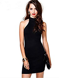 Women's Sexy  Female Turtle Neck Backless Sleeveless  Dress