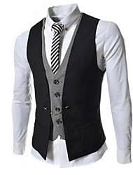 Men's Sleeveless Jacket , Cotton/Polyester Formal Pure