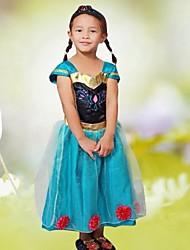 vestido largo congelada de la niña se levantó de flores niña vestido de princesa vestido vestido de manga larga