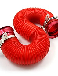TIROL Universal Tube Air Filter Adjustable Cold Air Injection Intake System Pipe Red Kit 76MM