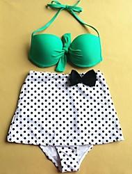 Women's Fashion Two-tone Dot Bow Push Up High waist Bikini Set Swimwear Swimsuit Beachwear
