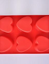 6-Loch Herzform Kuchen Eis Gelee Schokoladenformen, Silikon 27 x 18 x 3 cm (10,7 × 7,1 × 1,2 Zoll)