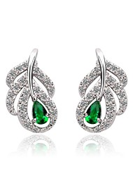 Fashion 18K White Gold Plated Emerald Green CZ Crystal Earrings For Women