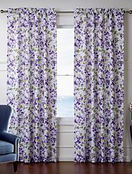 (Deux panneaux) de fantaisie améthyste rideau floral