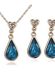 Or rose 18 / plaqué or blanc bleu briller Autriche ensembles de boucle d'oreille de cristal améthyste collier pendentif