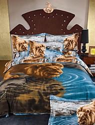 Four Piece 3D Canvas Lion Print Duvet Set