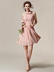 Knee-length Chiffon Bridesmaid Dress - Pearl Pink A-line Halter
