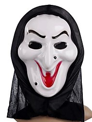 White Witch Mask with Head Cover Practical Joke Scary Cosplay Gadgets for Halloween Costume Party