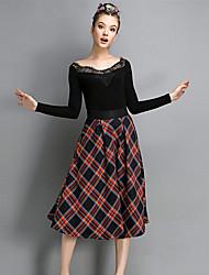 baibian женская мода случайные проверка юбка