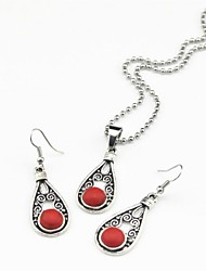Toonykelly Vintage Antique Silver Turquoise Stone(Earring and Necklace) Jewelry Set