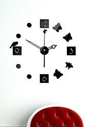 "21 ""h moderne stijl diy 3d spiegel acryl oppervlak zwarte sticker muur klokken voor slaapkamer woonkamer"