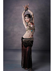 Belly Dance Outfits Women's Performance Cotton Polyester Velvet Copper Coins Buttons Pattern/Print Tassel(s) Leopard Dropped