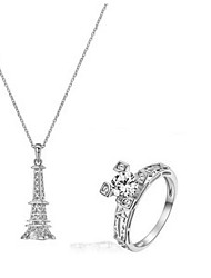 Bridal Jewelry Set 18K Silver Plated CZ Diamond Certified Eiffel Tower Necklace Ring Engagement